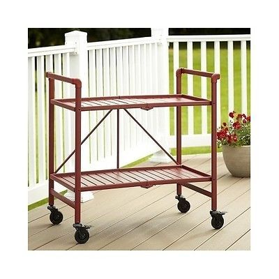 Folding Kitchen Cart Rolling Serving Beverage Trolley Red