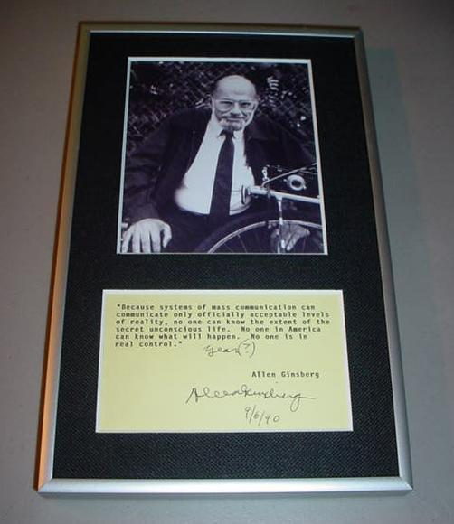 ALLEN GINSBERG Typewritten Hand Signed Quote & Photo - Archival Framed