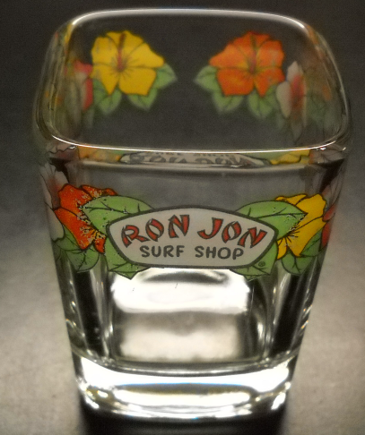 Ron Jon Surf Shop Shot Glass Double Size Square Style Clear Glass Floral Blooms