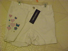 Girls 4T Shorts New Faded Glory White Denim Embroidered Hearts Butterflies - $8.85