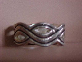 Ring Silver Swirled Woven Strands Band Size 8 Costume Jewelry - $10.84