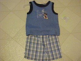 Baby Outfit Boys 3-6 Mo Disney Mickey Mouse Sleeveless Top & Plaid Short... - $10.90