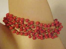 5 Bracelets Red Gold Bead Bracelet Glass Beads Beaded New Jewelry Elastic - $8.83