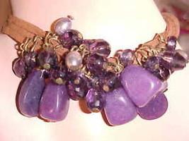 New Bracelet Purple Dangling Stones Beads Rocks Jewelry Faux Buckskin Le... - $8.83
