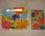 "New Party Set Birthday Spring Flowers Daisies Pansies 9"" Paper Plates & Napkins"