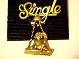 New Pin Brooch Unmarried Single Lady Woman on Swing Swinging Gold Tone J... - $6.69
