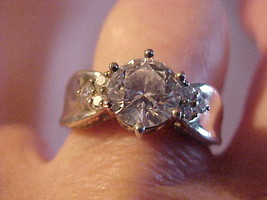 Ring Clear Crystal Rhinestone Silver Ornate Setting Size 8 Bling Costume... - $21.78