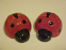 Salt & Pepper Shakers Ladybug Bug Insect Porcelain Red Black True Living... - $9.84