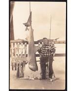 FISHERMAN & MANY SHARKS Pre-1920 RPPC Photo Postcard - $59.75