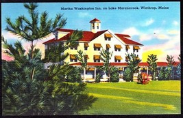 Martha Washington Inn Color Linen Postcard   Winthrop, Maine, Lake Maranacook - $7.50