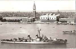 USS BEATTY DD 756 ARRIVING IN VENICE - 1953 RPPC - $19.95