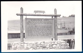 VIRGINIA CITY MONTANA MINING CAMP HISTORICAL MARKER RPPC POSTCARD ca.1950s - $12.95