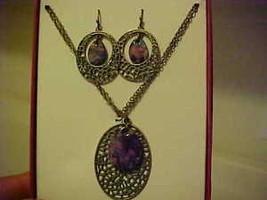 New Bpxed Set Necklace & Pierced Earrings Gold Purple Medallion Jewelry ... - $11.78