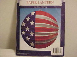 "Paper Lantern 10"" Hanging Patriotic 4th Of July Red White Blue Stars Str... - $6.69"