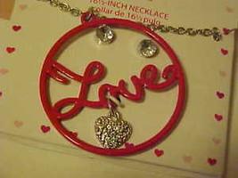 Necklace & Pierced Earrings New Boxed Set Red Enamel Rhinestone Circle O... - $9.22