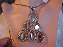 Necklace Vintage Gold Triangle of Dangling Teardrops Costume Jewelry 1960s - $13.46