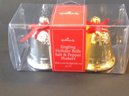 New Hallmark Salt & Pepper Shakers Holiday Christmas Jingling Bells Gold Silver - $15.15
