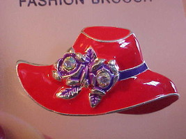 Pin Brooch New Red Hat Society Enameled Rhinestone Purple Bow Costume Je... - $10.10