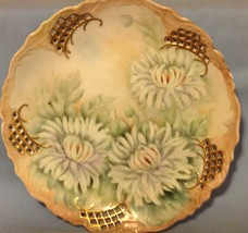 """Plate Hand Painted White Peony Pierced Plate 8"""" Porcelain Gold Flowers V... - $31.98"""