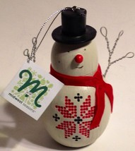 Christmas Ornament Snowman Stenciled Ponsettia Midwest Cannon Falls New - $12.58