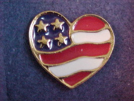 Pin Brooch Avon New In Box Gold Tone Heart of America Patriotic Jewelry ... - $8.83