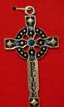 "New Christmas Ornament Crucifix Believe Cross Blue Stones 2.5"" Pewter Du... - $14.27"
