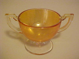 Sugar Bowl Carnival Glass Marygold Vintage Iridescent Footed Amber Lustre - $13.86