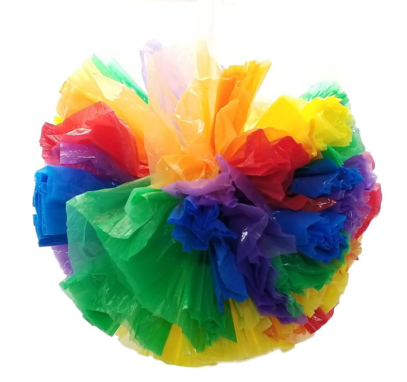 "3 Rainbow Car Limo decor hanging balls Plastic Pom Poms Flower 8"" 12"" 16"""