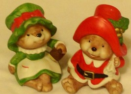 Figurine Set HOMCO 5600 Christmas Santa Mrs Claus Bear Gold Labels Porcelain - $18.51