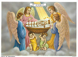 Catholic Print Picture Nativity of the Blessed Virgin Mary with Angels - $14.01
