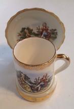 Porcelain Demitasse Cup Saucer & Porcelain Stand Wall Mount Victorian Lovers - $18.51