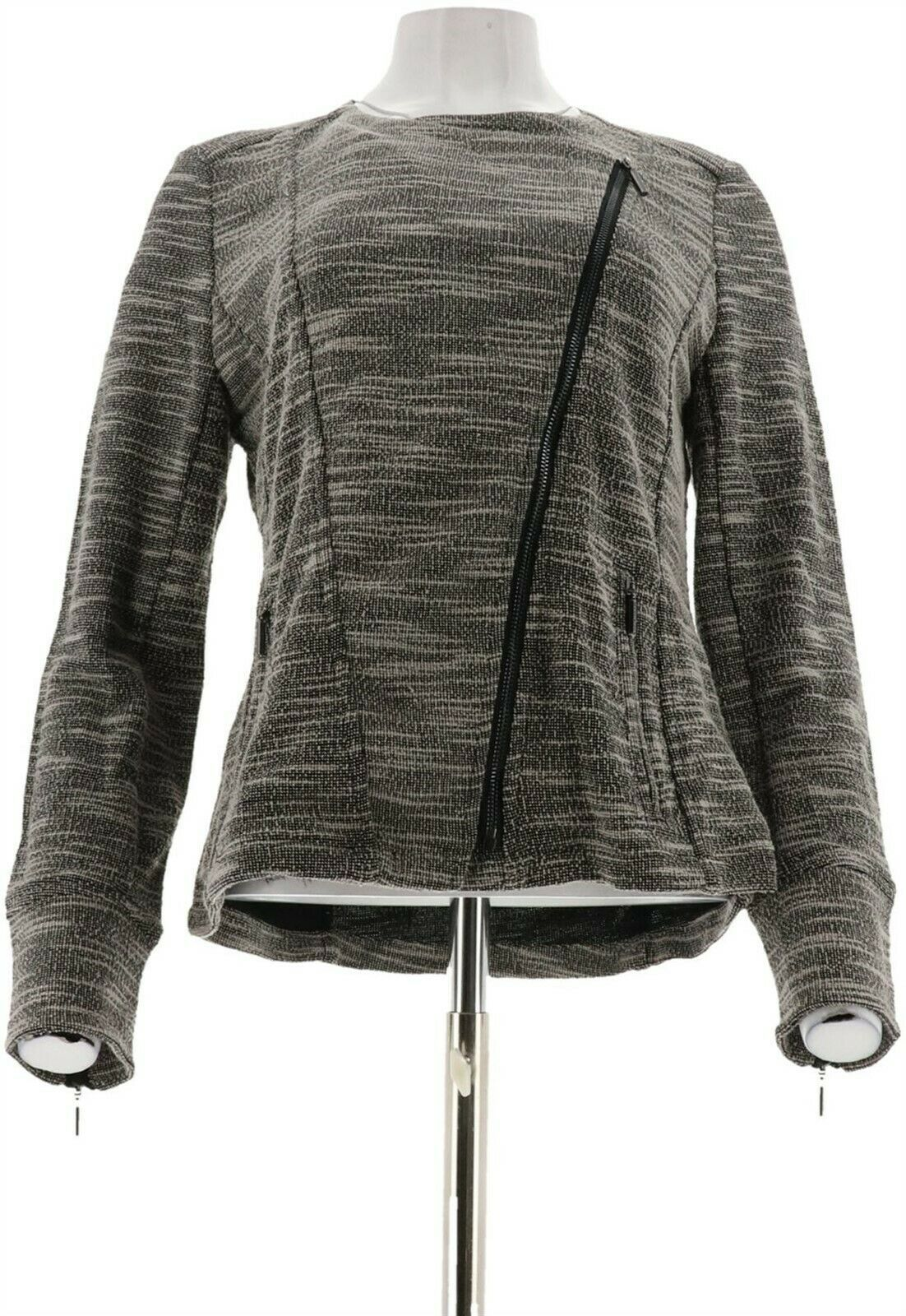 Primary image for Halston Slub Knit Asymmetrical Zip Moto Jacket Black 4 NEW A270336