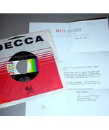 BILLY WARD & JACKIE WILSON 45 RPM & DECCA LETTER - $30.00