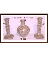 candle holder and flower vase 3 pc set ceramic - $18.00