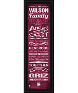 "Personalized University of Montana ""Griz"" - 24 x 8 ""Family Cheer"" Framed Print - $39.95"