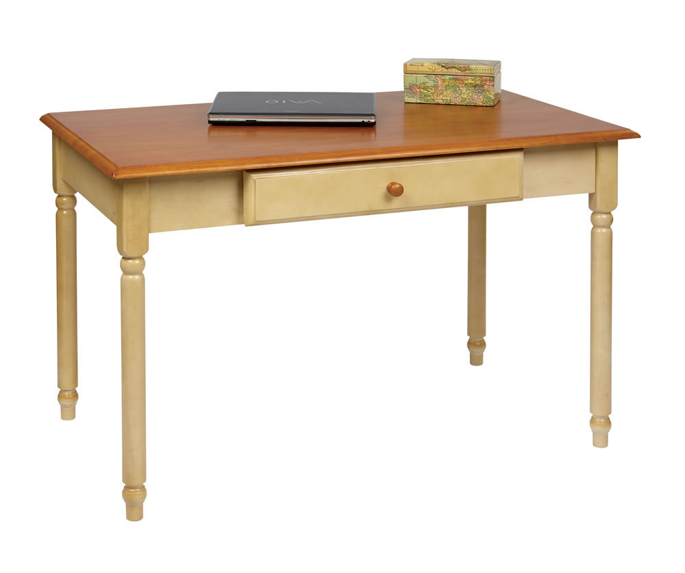 Computer Writing Desk ~ Wood cherry country buttermilk finish computer writing