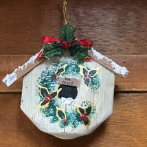 Handmade Repurposed Soda Can Holly Painted Bird House Christmas Tree Orn... - $8.59