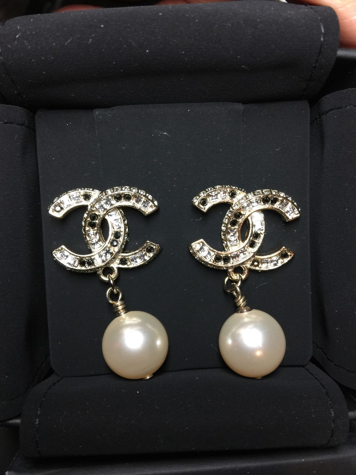 channel jewelry earrings 2015 chanel gold black large cc pearl drop 3626