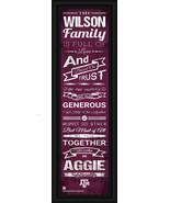 """Personalized Texas A&M """"Aggies"""" - 24 x 8 """"Family Cheer"""" Framed Print - $39.95"""