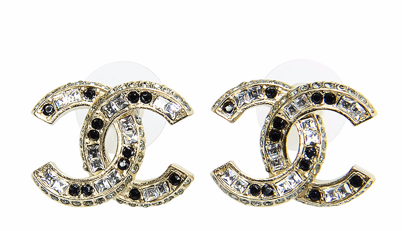 AUTHENTIC CHANEL GOLD BLACK LARGE CC CRYSTAL CLASSIC EARRINGS NEW