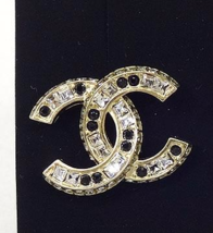 AUTHENTIC CHANEL GOLD BLACK LARGE CC CRYSTAL CLASSIC EARRINGS NEW image 2
