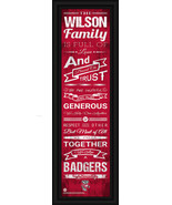 """Personalized Wisconsin """"Badgers"""" - 24 x 8 """"Family Cheer"""" Framed Print - $39.95"""