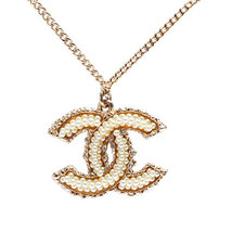 100% AUTHENTIC CHANEL Large Gold CC Logo Pearl Crystal 2 Way Necklace Pendant