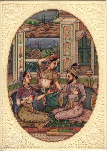 Mughal Indian Empire Miniature Painting Handmade Watercolor Mogul Harem Folk Art