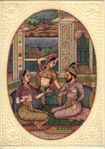 Mughal Indian Empire Miniature Painting Handmade Watercolor Mogul Harem ... - $154.99