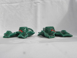 Pair of Vintage Holland Mold Christmas Green Holly and Berry Candleholders - $6.99