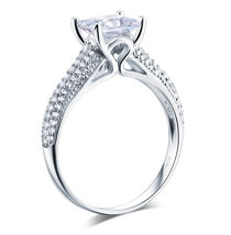 925 Sterling Silver Cathedral Engagement Ring 1.5 Ct Princess Lab Made Diamond - $129.99