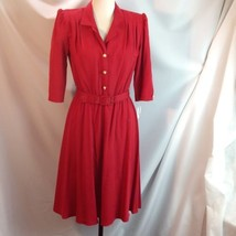 Vtg 1980s California Looks Belted Red Dress Faux Pearl Decorative Button... - $34.16