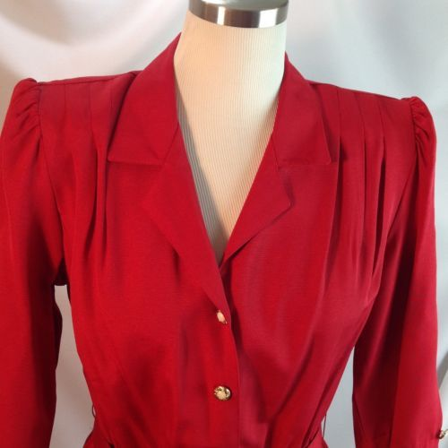 Vtg 1980s California Looks Belted Red Dress Faux Pearl Decorative Buttons 6P