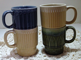 Vintage Set of Four Stackable Stoneware Coffee/Tea Mugs Cups - $20.00